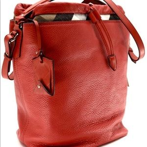 Burberry Bags - Burberry Ashby Cadmium Red Leather Hobo Bag e67d72b9bb493